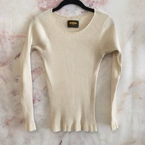 VINTAGE Free People White Ribbed Crewneck
